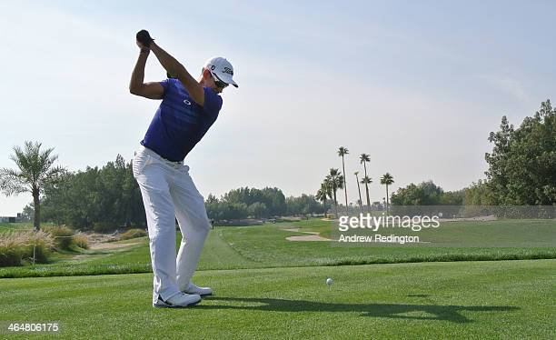 Rafa CabreraBello of Spain hits his teeshot on the fifth hole during the third round of the Commercial Bank Qatar Masters at Doha Golf Club on...