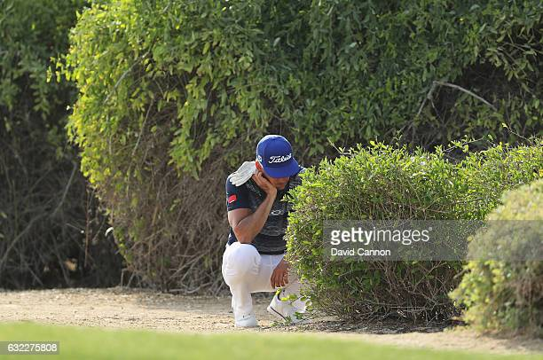 Rafa CabreraBello of Spain looks at his ball in the bushes on the 13th hole during the third round of the Abu Dhabi HSBC Championship at the Abu...