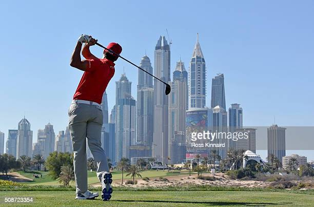 Rafa CabreraBello of Spain on the 8th tee during the third round of the Omega Dubai Desert Classic on the Majlis course at the Emirates Golf Club on...