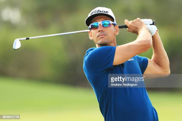 Rafa CabreraBello of Spain plays a shot during the proam prior to the Abu Dhabi HSBC Golf Championship at Abu Dhabi Golf Club on January 17 2018 in...