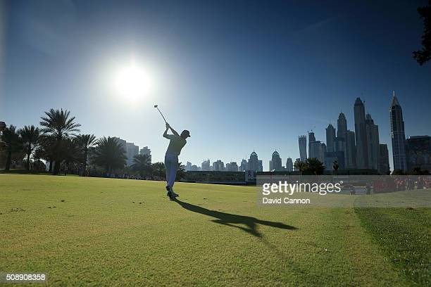 Rafa CabreraBello of Spain plays his second shot at the par 5 18th hole during the final round of the 2016 Omega Dubai Desert Classic on the Majlis...