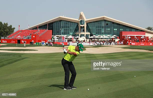 Rafa CabreraBello of Spain plays his second shot on the 9th hole during the second round of the Abu Dhabi HSBC Championship at the Abu Dhabi Golf...