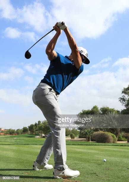Rafa CabreraBello of Spain plays his shot from the 13th tee during the proam prior to the Abu Dhabi HSBC Golf Championship at Abu Dhabi Golf Club on...