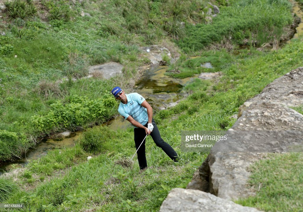 Rafa Cabrera-Bello of Spain plays his third shot on the par 3, 4th hole in his sudden death play-off with Charles Howell III during the third round of the 2017 Dell Match Play at Austin Country Club on March 24, 2017 in Austin, Texas.