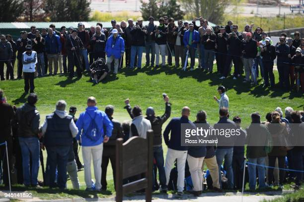 Rafa CabreraBello of Spain reacts after his birdie on the 4th hole during day one of Open de Espana at Centro Nacional de Golf on April 12 2018 in...