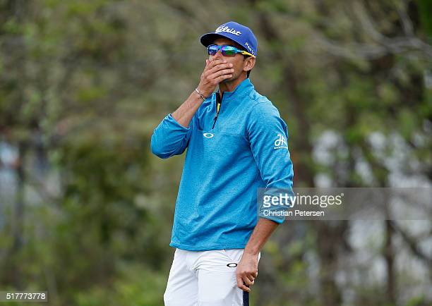 Rafa CabreraBello of Spain reacts to a missd putt on the 12th green during his semifinal match with Louis Oosthuizen at the World Golf...