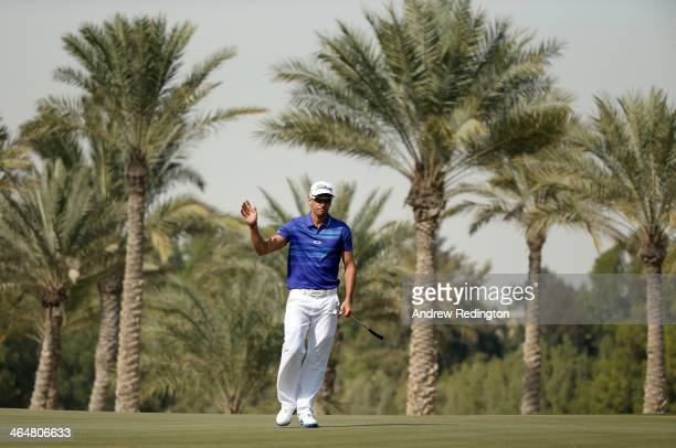 Rafa CabreraBello of Spain waves to the crowd after his birdie on the second hole during the third round of the Commercial Bank Qatar Masters at Doha...