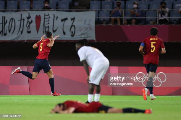 Rafa Mir of Team Spain celebrates after scoring their side's second goal during the Men's Quarter Final match between Spain and Cote d'Ivoire on day...