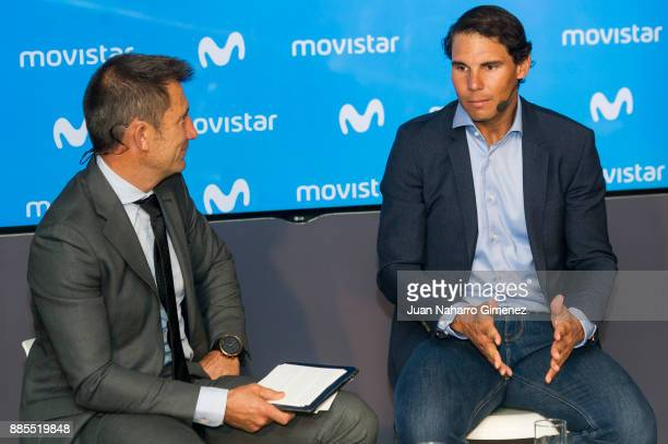 Rafa Nadal and Carlos Martinez attend a meeting at Telefonica Flagship Store on December 4 2017 in Madrid Spain