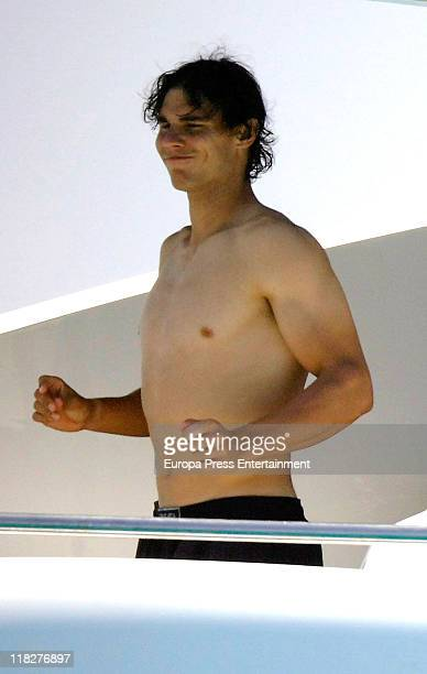 Rafa Nadal and friends are seen enjoying holidays in a yatch on July 5 2011 in Mallorca Spain