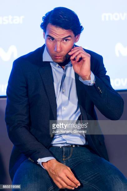 Rafa Nadal attends a meeting at Telefonica Flagship Store on December 4 2017 in Madrid Spain