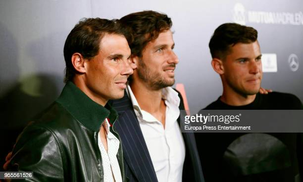 Rafa Nadal Feliciano Lopez and Dominic Thiem attend the Mutua Madrid Open 2018 Party at Kapital Theatre on May 4 2018 in Madrid Spain