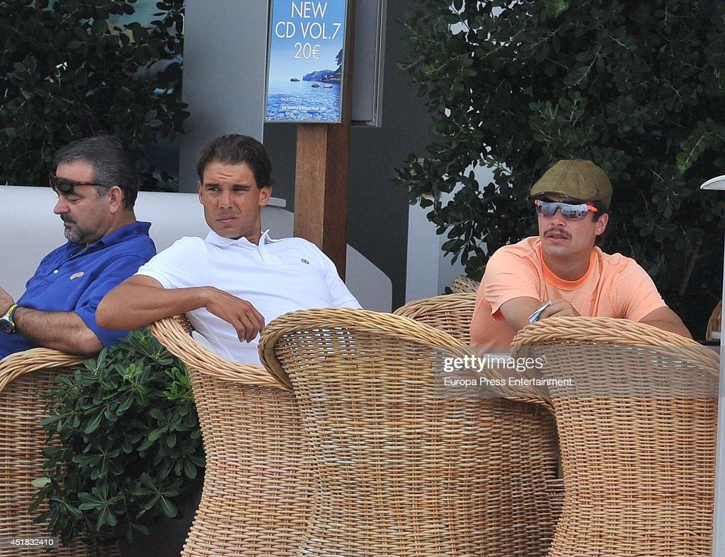 Rafa Nadal (C) is seen on July 7, 2014 in Ibiza, Spain.