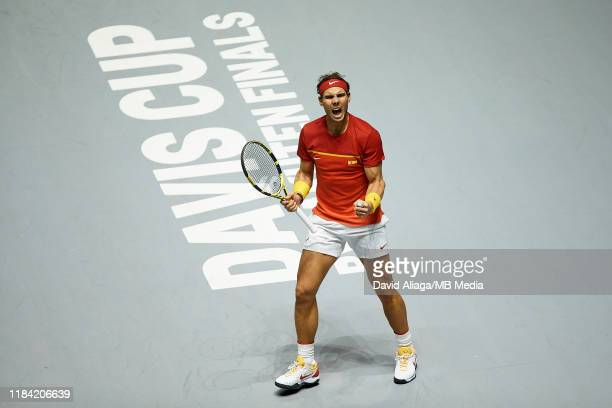 Rafa Nadal of Spain celebrates during his semi finals singles match against Daniel Evans of Great Britain during Day Six of the 2019 Davis Cup at La...