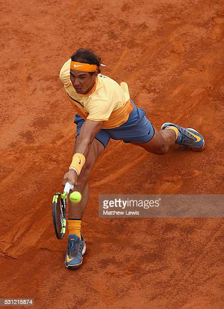 Rafa Nadal of Spain in action against Novak Djokovic of Serbia during day six of the The Internazionali BNL d'Italia 2016 on May 13 2016 in Rome Italy