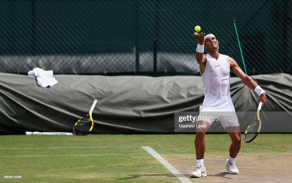 Rafa Nadal of Spain practises on the middle sunday ahead of the fourth round at All England Lawn Tennis and Croquet Club on July 8, 2018 in London, England.