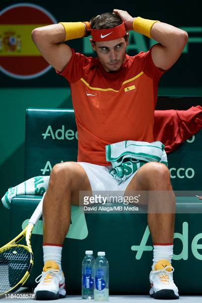 Rafa Nadal of Spain puts his headband on during his quarter finals match against Diego Schwartzman of Argentina during Day Five of the 2019 Davis Cup...
