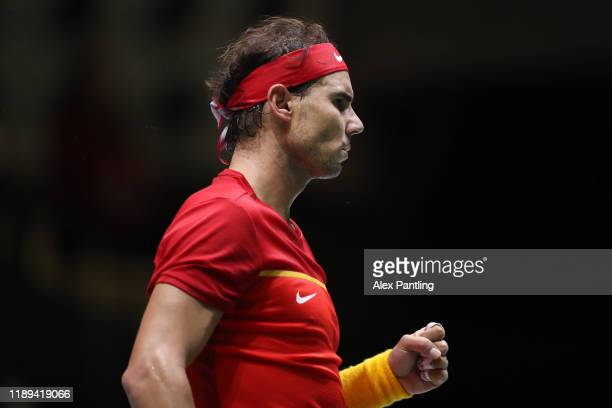 Rafa Nadal of Spain reacts during his quarter final match against Diego Schwartzman of Argentina on Day Five of the 2019 Davis Cup at La Caja Magica...