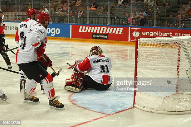 Rafa³ Radziszewski allowed a goal during the Champions Hockey League match between Sparta Prague and Comarch Cracovia at o2 Arena Prague on August...