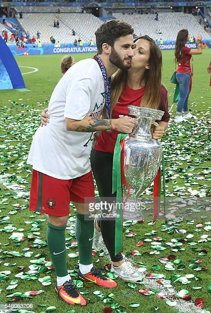 Rafa Silva of Portugal poses with the trophy following the UEFA Euro 2016 final match between Portugal and France at Stade de France on July 10 2016...