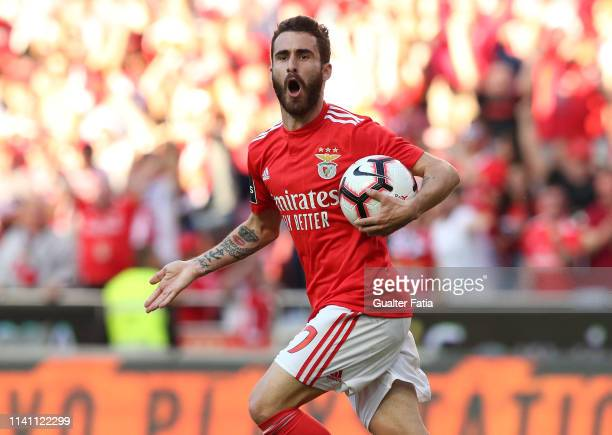 Rafa Silva of SL Benfica celebrates after scoring a goal during the Liga NOS match between SL Benfica and Portimonense SC at Estadio da Luz on May 4,...