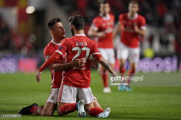 Rafa Silva of SL Benfica celebrates after scoring a goal during the UEFA Champions League Group G match between SL Benfica and Olympique Lyon at...