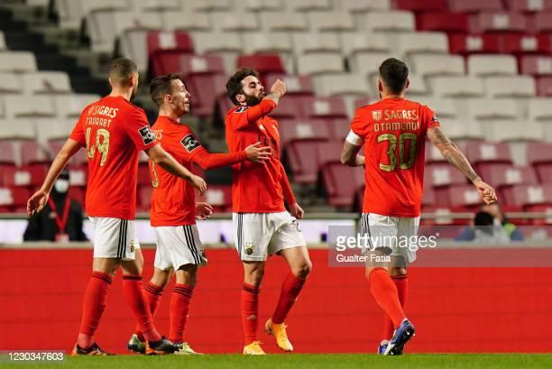 Rafa Silva of SL Benfica celebrates after scoring a goal during the Liga NOS match between SL Benfica and Portimonense SC at Estadio da Luz on...