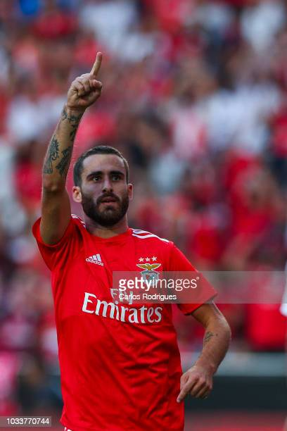 Rafa Silva of SL Benfica celebrates scoring SL Benfica second goal during the Portuguese League Cup match between SL Benfica and Rio Ave FC at...