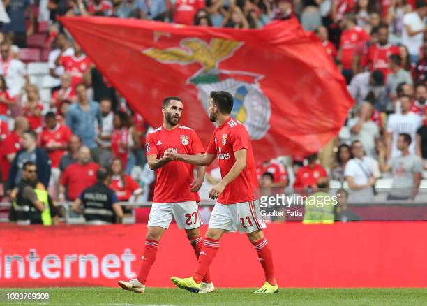 Rafa Silva of SL Benfica celebrates with teammate Pizzi of SL Benfica after scoring a goal during the Portuguese League Cup match between SL Benfica...