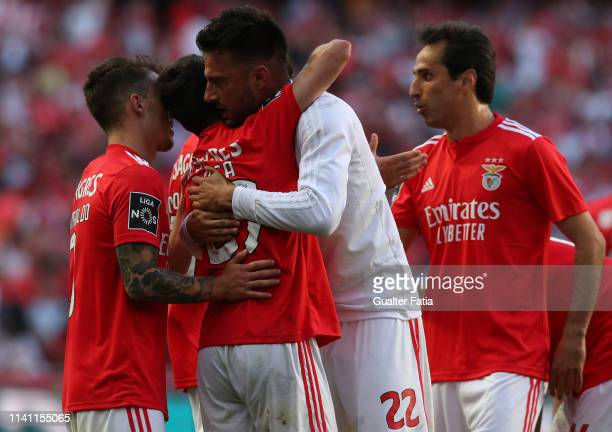 Rafa Silva of SL Benfica celebrates with teammates after scoring a goal during the Liga NOS match between SL Benfica and Portimonense SC at Estadio...