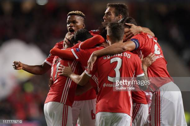 Rafa Silva of SL Benfica celebrates with teammates after scoring a goal during the UEFA Champions League Group G match between SL Benfica and...