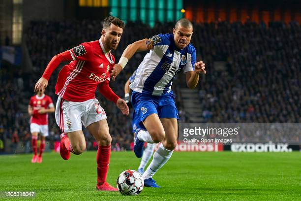 Rafa Silva of SL Benfica is challenged by Kepler Lima 'Pepe' of FC Porto during the Liga Nos match between FC Porto and SL Benfica at Estadio do...
