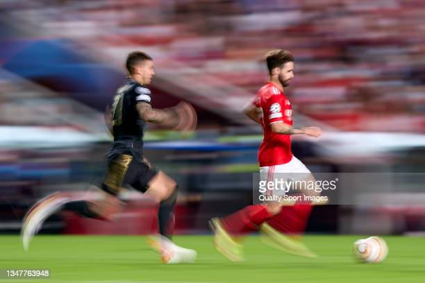 Rafa Silva of SL Benfica is challenged by Lucas Hernandez of Bayern München during the UEFA Champions League group E match between SL Benfica and...
