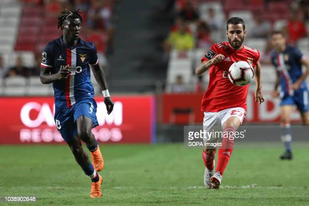 Rafa Silva of SL Benfica with Mama Baldé of Desp Aves seen in action during the League NOS 2018/19 football match between SL Benfica vs Desp Aves