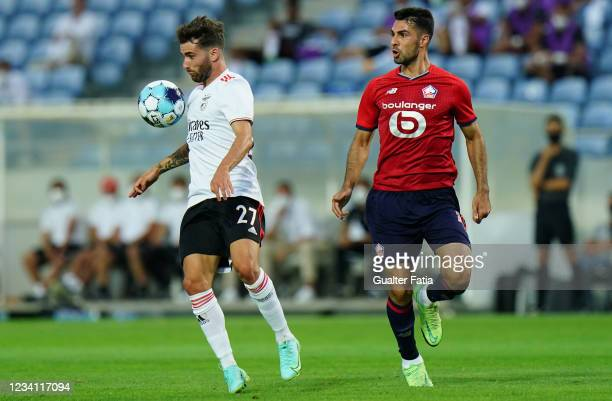 Rafa Silva of SL Benfica with Zeki Celik of LOSC Lille in action during the Pre-Season Friendly match between SL Benfica and Lille at Estadio Algarve...