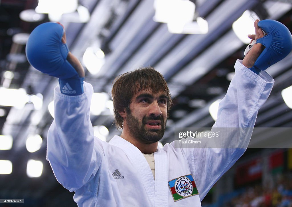 Rafael Aghayev of Azerbaijan celebrates after defeating Luigi Busa of Italy in the Men's Kumite -75kg gold medal match on day one of the Baku 2015 European Games at Crystal Hall on June 13, 2015 in Baku, Azerbaijan.