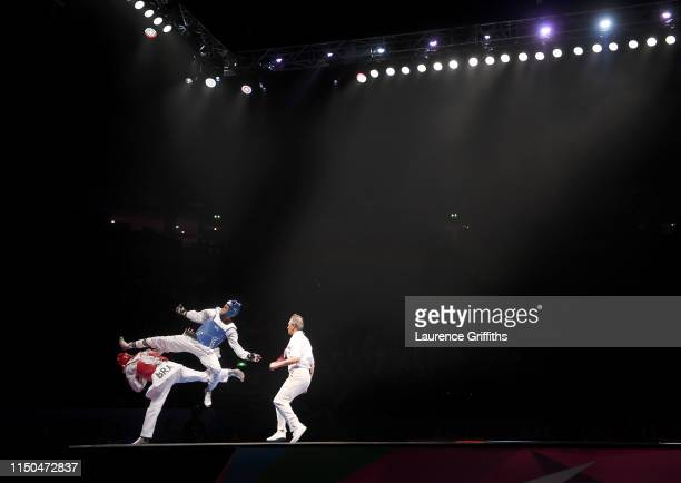 Rafael Alba of Cuba competes against of Maicon Siquera of Brazil in the Semi Final of the Mens 87kg during Day 5 of the World Taekwondo Championships...