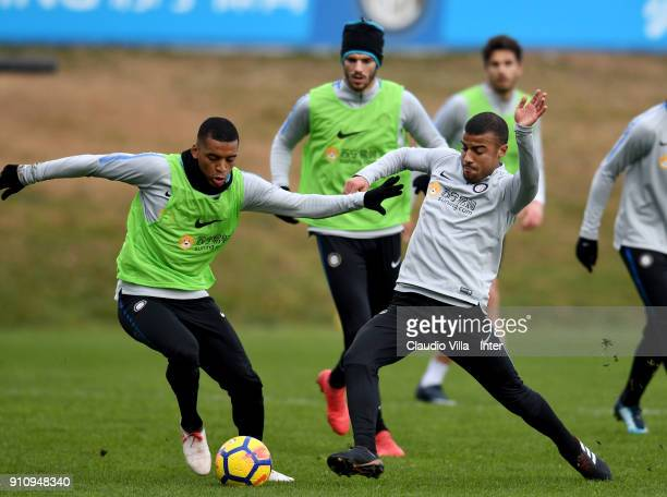 Rafael Alcântara do Nascimento Rafinha and Dalbert Henrique Chagas Estevão of FC Internazionale compete for the ball during a FC Internazionale...