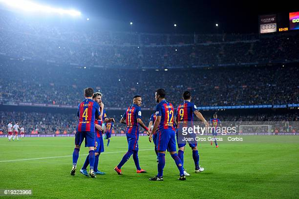 Rafael Alcántara Ivan Rakitic Neymar Jr Lionel Messi and Luis Suárez of FC Barcelona celebrating the Rafhina goal during the Spanish League match...