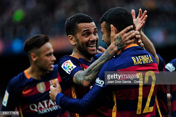 Rafael Alc��ntara of FCBarcelona celebrates with Dani Alves after scoring a goal during the FCBarcelona v RCD Espanyol BBVA Spanish League match 37th...