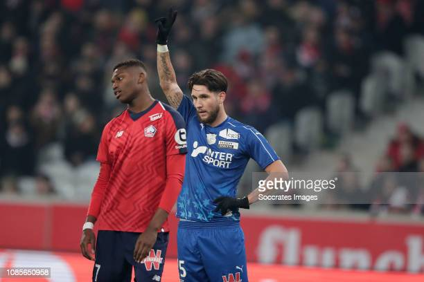 Rafael Alexandre Da Conceicao Leao of Lille Jordan Lefort of Amiens SC during the French League 1 match between Lille v Amiens SC at the Stade Pierre...
