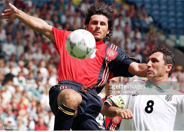 Rafael Alkorta of Spain rises above Bulgaria's Hristo Stoitchkov as the teams started off the Group B match of European Football Championships at...