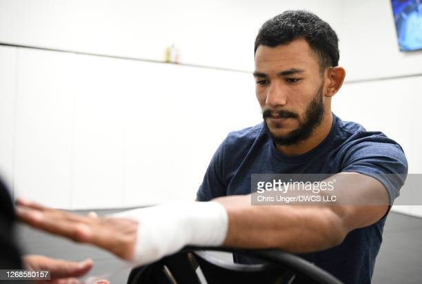 Rafael Alves has his hands wrapped prior to his fight during week four of Dana White's Contender Series season four at UFC APEX on August 25 2020 in...
