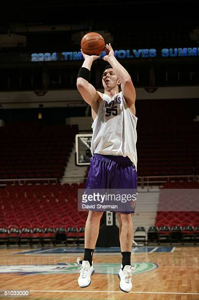 Rafael Araujo of the Toronto Raptors shoots against the Milwaukee Bucks during the 2004 NBA Minnesota Summer League on July 7 2004 at Target Center...