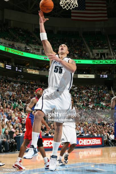 Rafael Araujo of the Utah Jazz goes up for a layup against the Los Angeles Clippers on November 14 2006 at the Delta Center in Salt Lake City Utah...