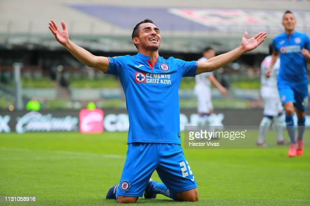 Rafael Baca of Cruz Azul celebrates after scoring the first goal of his team during the 11th round match between Cruz Azul and Pachuca as part of the...
