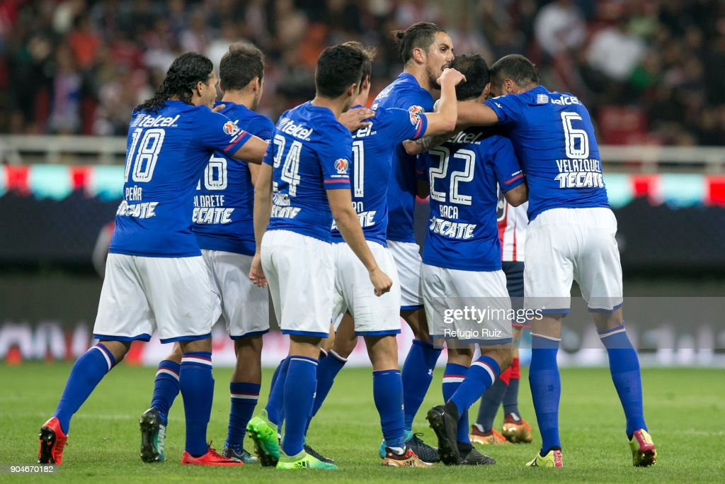 Rafael Baca of Cruz Azulcelebrates with teammates after scoring the second goal of his team during the 2nd round match between Chivas and Cruz Azul as part of the Torneo Clausura 2018 Liga MX at Akron Stadium on January 13, 2018 in Zapopan, Mexico.