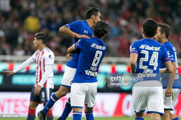 Rafael Baca of Cruz Azulcelebrates with teammates after scoring the second goal of his team during the 2nd round match between Chivas and Cruz Azul...