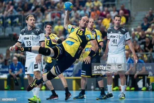 Rafael Baena Gonzalez of RheinNeckar Loewen tries to score during the DKB HBL match between RheinNeckar Loewen and THW Kiel at SAP Arena on May 31...