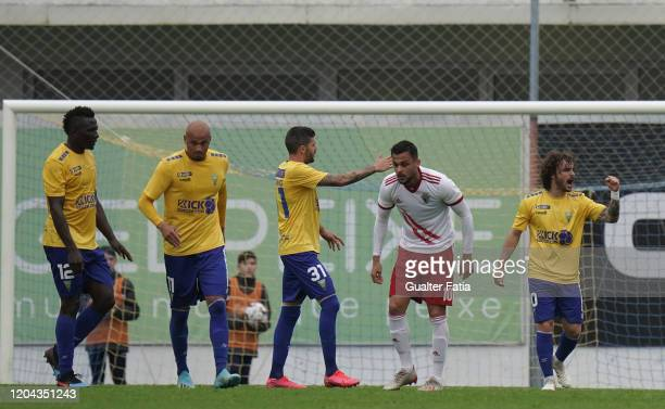 Rafael Barbosa of GD Estoril Praia celebrates after scoring a goal during the Liga Pro match between GD Estoril Praia and UD Vilafranquense at...
